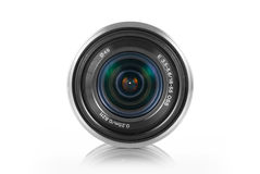Mirrorless camera lens. Mirrorless photo camera lens on white background stock image
