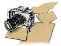 Mirrorless camera pencil sketch and paper free space Stock Images