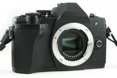 Mirrorless professional camera front view and sensor with isolated white background.  stock photography