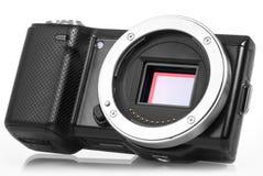 Mirrorlesscamera zonder lens stock foto's