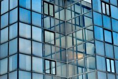 Mirrors in a building. A picture of mirrors and mirrors reflection in a building,in an area in A greek town Thessaloniki Royalty Free Stock Image