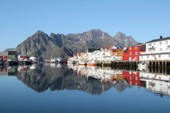 Mirrors of Lofoten's Canal Grande Stock Photo