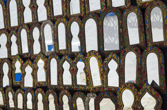 Mirrors at market in Tunisia. Oriental decorative mirrors hanging at market in Tunisia royalty free stock images