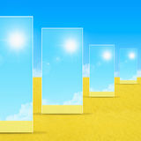 Mirrors on sand Stock Photography