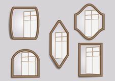 Mirrors. Set of  with window reflection royalty free illustration
