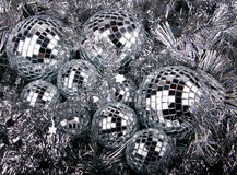 Mirrow christmas balls on silver Stock Images
