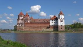 Mirsky castle against the blue spring sky. Mir, Belarus stock video footage