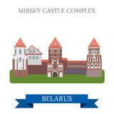 Mirsky Castle Complex Grodno Belarus flat vector sight landmark Stock Images