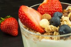 Mirtilli e farina d'avena Alimento sano per i bambini Yogurt e frutta per gli atleti Stia l'alimento a dieta Immagine Stock Libera da Diritti