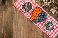Mirtilli e spincervino presentati sotto forma dei tartufi di cioccolato del cuore Priorità bassa di legno Vista superiore Primo p Fotografie Stock Libere da Diritti