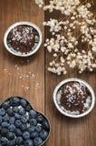 Mirtilli e spincervino presentati sotto forma dei tartufi di cioccolato del cuore Priorità bassa di legno Vista superiore Primo p Immagini Stock Libere da Diritti