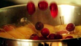 Mirtilli rossi rossi di versamento nella composta di frutta d'ebollizione stock footage