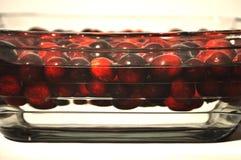 Mirtilli rossi freschi che galleggiano in una ciotola con acqua fotografia stock libera da diritti