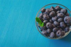 Mirtilli saporiti con la menta su fondo blu I mirtilli sono superfood organico antiossidante fotografia stock