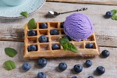 Mirtillo del gelato su una cialda belga su una superficie di legno Cialde casalinghe deliziose con il gelato di frutta fresca Est fotografia stock libera da diritti