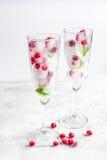 Mirtillo rosso fresco in cubetti di ghiaccio in vetri sul modello bianco del fondo Immagini Stock