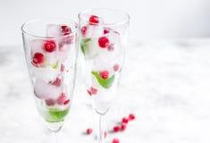 Mirtillo rosso fresco in cubetti di ghiaccio in vetri sul modello bianco del fondo Fotografie Stock Libere da Diritti