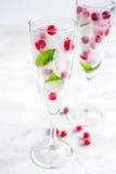 Mirtillo rosso fresco in cubetti di ghiaccio in vetri sul modello bianco del fondo Immagine Stock