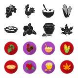 Mirtillo rosso, torta di zucca, vaso del miele, foglia di acero Icone stabilite della raccolta di giorno di ringraziamento del Ca Fotografie Stock