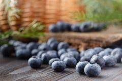 Mirtillo su fondo di legno Antiossidante del mirtillo Concetto per il cibo e la nutrizione sani fotografia stock