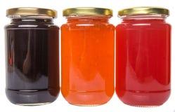 Mirtilo engarrafado, morango, doce alaranjado II fotos de stock