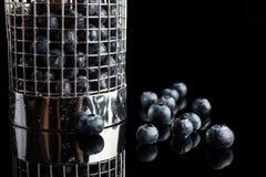 Mirtilos no filtro do copo do lado Fotografia de Stock Royalty Free