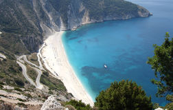 Mirtos beach in Greece. Mirtos beach in Kefalonia Greece royalty free stock images