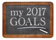 Mis 2017 metas en la pizarra Imágenes de archivo libres de regalías