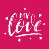 Mis tarjetas del amor para el día de tarjetas del día de San Valentín Letras dibujadas mano del cepillo con los corazones Texto d Fotografía de archivo