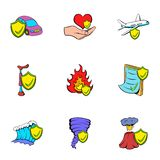 Misadventure icons set, cartoon style. Misadventure icons set. Cartoon illustration of 9 misadventure vector icons for web Stock Photography