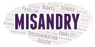 Misandry - type of discrimination - word cloud. Wordcloud made with text only vector illustration