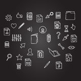 Misc file and cursor computer technology icon business set in sketch hand drawing black board style. Vctor Stock Photo