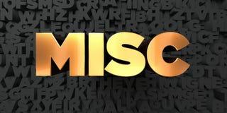Misc - Gouden tekst op zwarte achtergrond - 3D teruggegeven royalty vrij voorraadbeeld Royalty-vrije Stock Afbeelding