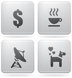 Misc Internet Icons. Miscellaneous everyday icons: a dollar sign, a coffee cup, a satellite dish, animals allowed icon (part of the Platinum Squared 2d Icons Set Royalty Free Stock Photography