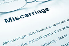 Miscarriage. Miscarriage sign on a paper and glasses stock images