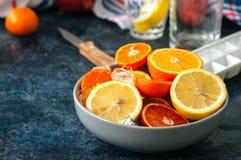 Miscela degli agrumi maturi freschi come arance sanguinelle, mandarini, le Fotografia Stock Libera da Diritti