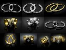 Miscela degli orecchini - grande insieme - oro d'argento Fotografie Stock