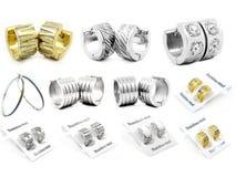 Miscela degli orecchini - grande insieme - oro d'argento Fotografie Stock Libere da Diritti