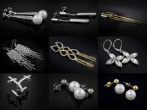 Miscela degli orecchini - grande insieme - oro d'argento Fotografia Stock