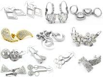 Miscela degli orecchini - grande insieme - oro d'argento Immagini Stock Libere da Diritti