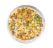 Miscela dei cereali, piselli, lenticchie, riso, orzo Immagini Stock Libere da Diritti