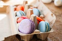 Miscela dei macarons variopinti in un contenitore dell'uovo della carta del mestiere Immagine Stock Libera da Diritti