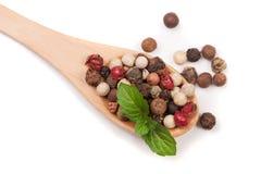 Miscela dei peperoni caldi, rossi, neri, del bianco e del peperone verde in un cucchiaio di legno isolato su fondo bianco Vista s Fotografie Stock Libere da Diritti
