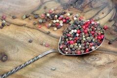 Miscela dei peperoni in cucchiaio immagini stock