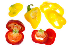 Miscela dei peperoni dolci colorati tagliati Fotografia Stock