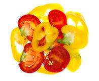 Miscela dei peperoni dolci colorati tagliati Immagini Stock