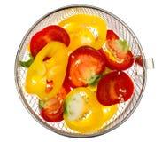 Miscela dei peperoni dolci colorati tagliati Immagine Stock