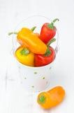 Miscela dei peperoni dolci variopinti freschi in un primo piano del secchio Immagini Stock Libere da Diritti