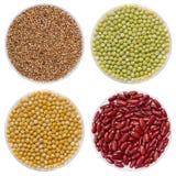 Miscela del fagiolo, del riso, dei semi del grano saraceno e del pisello su fondo bianco fotografia stock