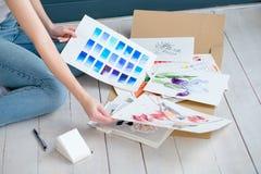 Miscela dell'inchiostro della tintura del campione dell'acquerello della pittura di arte creativa Fotografia Stock